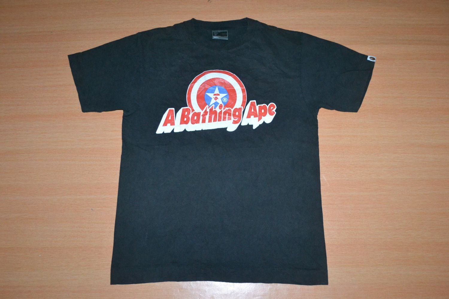 a04197d9 Vintage 90s BATHING Ape Bape x Captain America Camo Made in Japan Black M  Size T-shirt t shirt by OldSchoolZone on Etsy