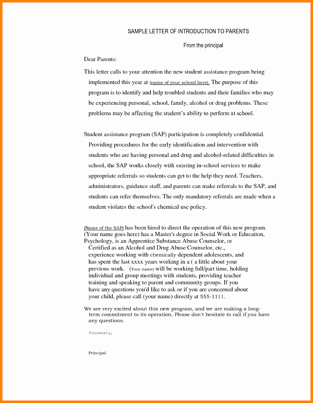 Letter To Parent Template Luxury Thank You Letter To