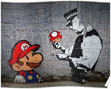 Banksy Happy Angel Policeman Graffiti Street Art Giant Canvas Art Print