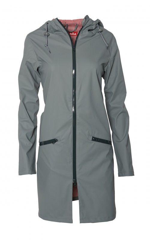 Derbe Cloudy Grau Damen Regenjacke Wasserdicht Streifen Stylish