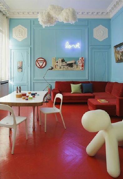 Red Painted Wood Floors In A Kids Hangout Roompainting Herringbone Floor Solid Color Leaves Really Cool Texture The End