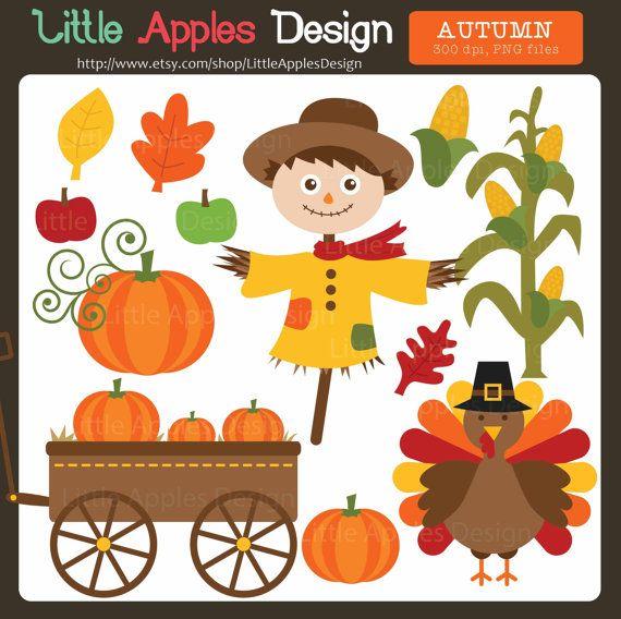 Autumn ClipArt / Autumn Clip Art / Fall Clip Art / Fall Clipart / Pumpkin Clip Art  / Scarecrow Clip Art / Autumn Leaves Clipart / Turkey