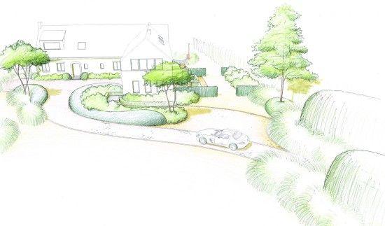 Jardin avec piscine croquis de l 39 entr e for Croquis jardin paysager