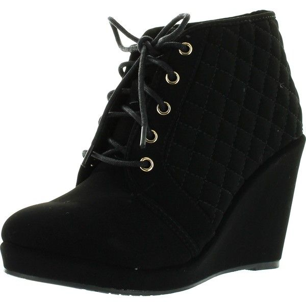 Forever Womens Olesia-27 Fashion Lace Up Quilted Ankle Wedge High Heel Booties Platform