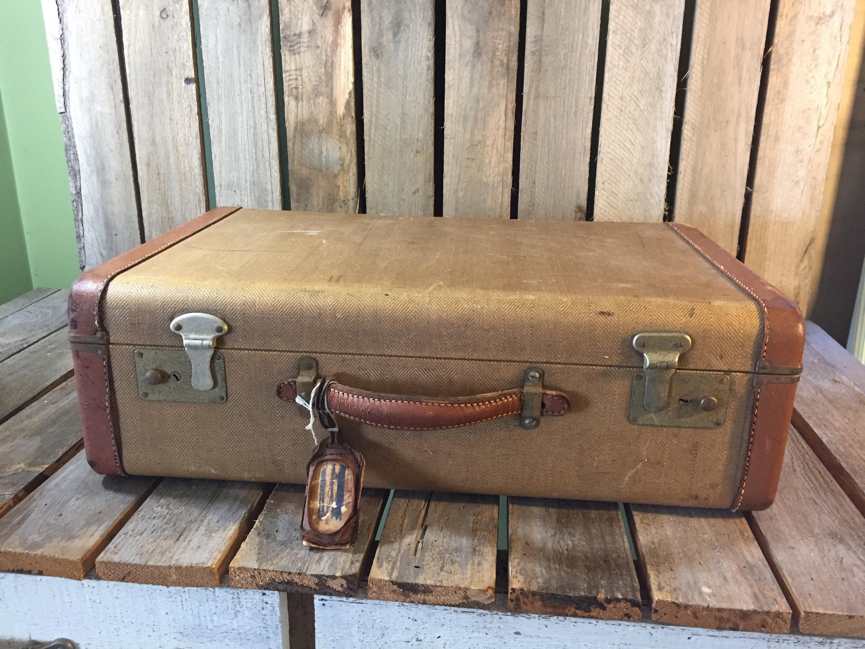 Vintage Decorative Suitcases Vintage Tweed Suitcase With Leather Trim Tweed Suitcase