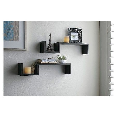Target Floating Shelves Alluring Threshold™ Set Of 2 Fashion Shelves With 2 Led Candles  Target Inspiration