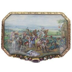 Rare and Important Nephrite Gold Box with Napoleonic Cossack Painted Scene. An exquisite nephrite box with 18 carat gold framework decorated with scrolls and flowers. Underneath the rock crystal, the lid is decorated with an extraordinarily detailed, hand painted battle scene/pillaging between possibly Napoleon's army and Cossacks of Russia. Several maidens appearing to be rescued on horseback in dress typical of the late 1700s very early 1800s. Each nephrite panel is inlaid with gold floral