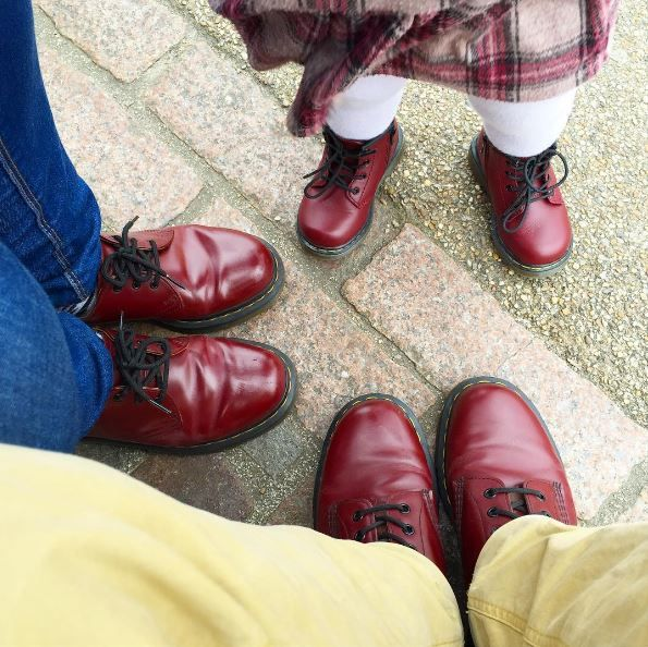 Docs for all the family: the Cherry red Delaney, 1460 boot, and 1461 shoe. Shared by tiyzarry