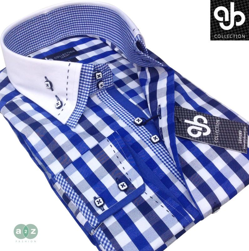 Brand New Men's  Smart Casual, White with Blue Check Double Collar Casual Italian Design Slim Fit Shirt,  with Contrast Small Check White, with Blue Pattern  - NEW DESIGN - S - 3XL