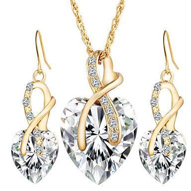 información para nueva nueva alta calidad Mujer Diamante sintético Juego de Joyas Pendientes colgantes ...