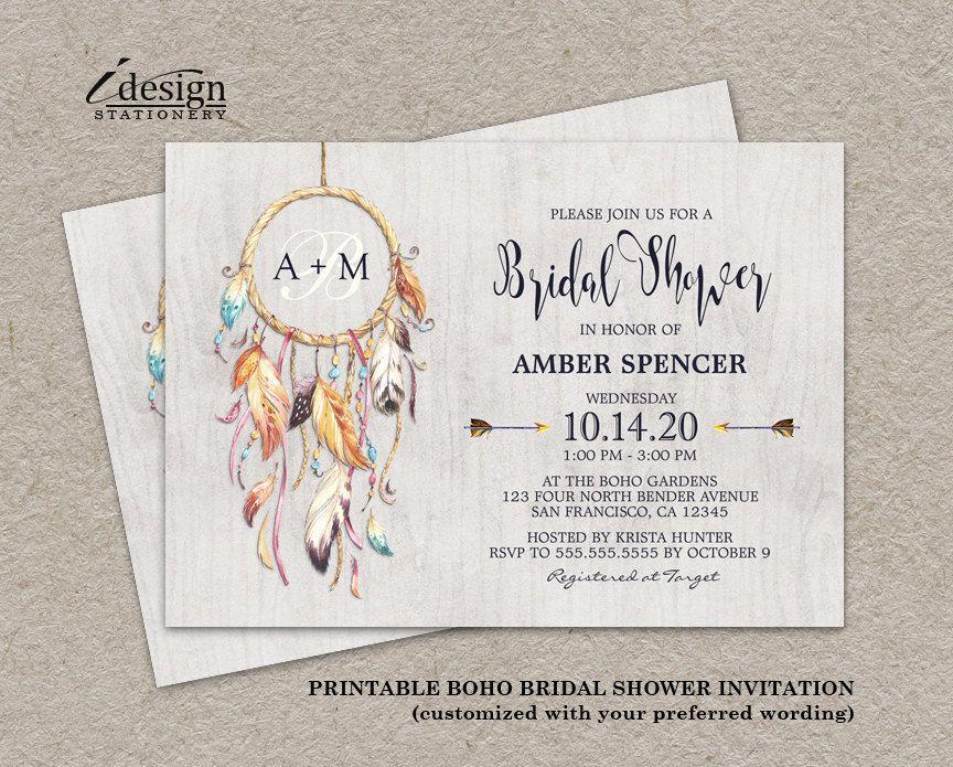 Boho Chic Wedding Invitations: Rustic Boho Chic Dreamcatcher Bridal Shower Invitation
