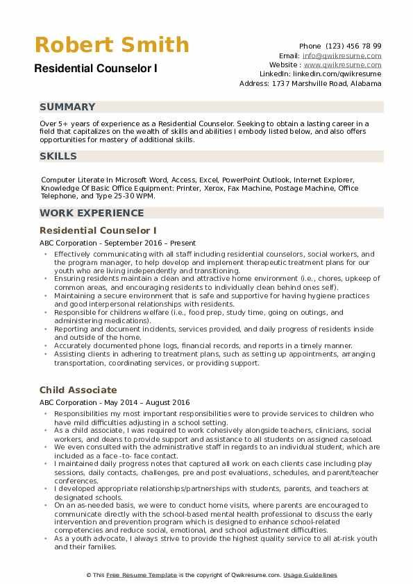 Residential Counselor Resume Samples Qwikresume Image