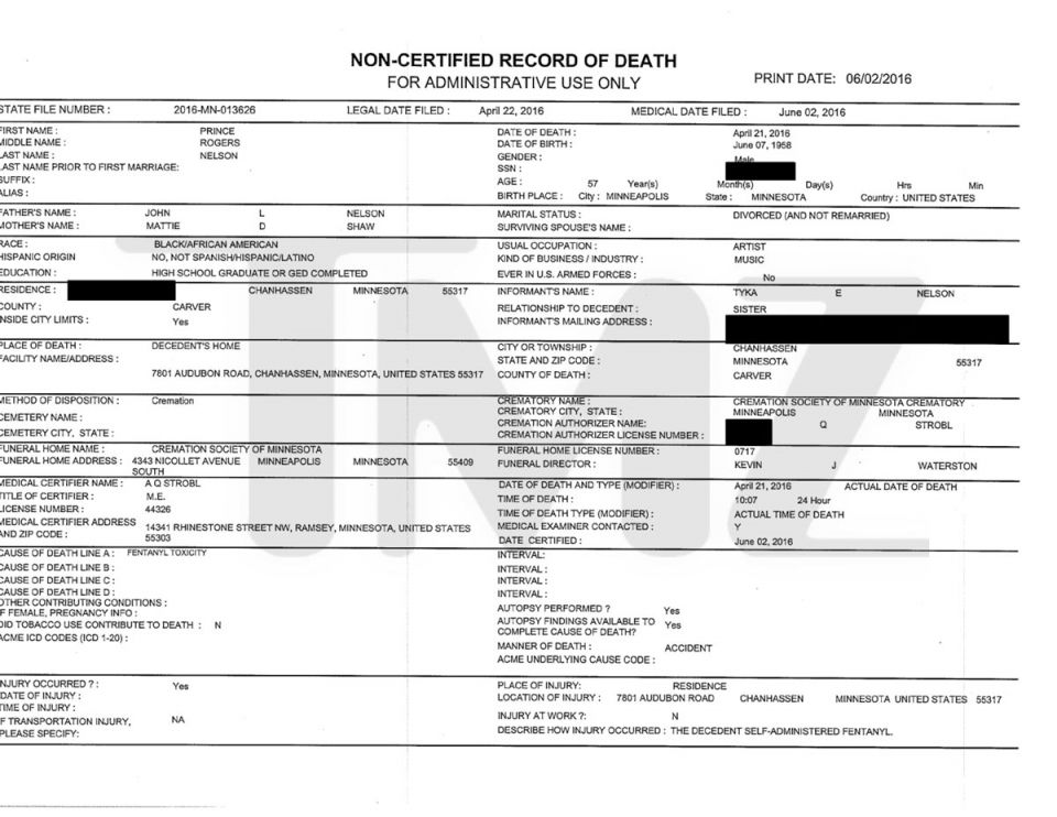 Death Certificate Of Prince Photo Credit Midwest Medical