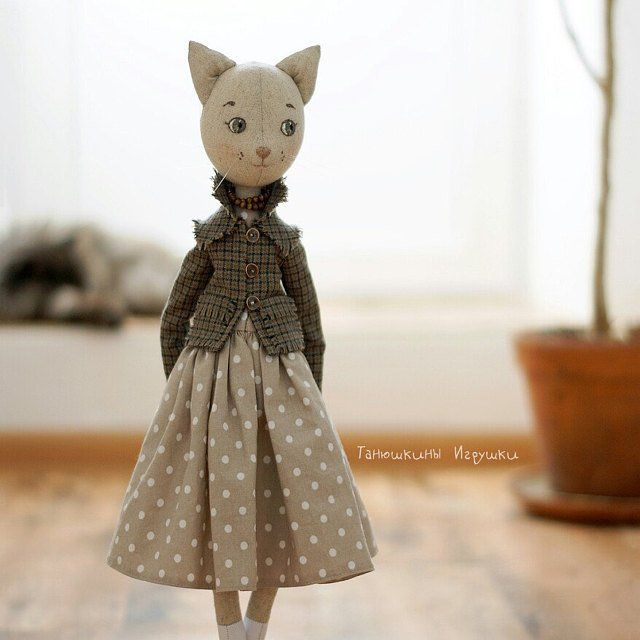 Doll clothing pattern: Catsuit. Free cat doll pattern. PDF digital patterns. Stuffed cat pattern. Cat sewing pattern. Handmade cat toy.