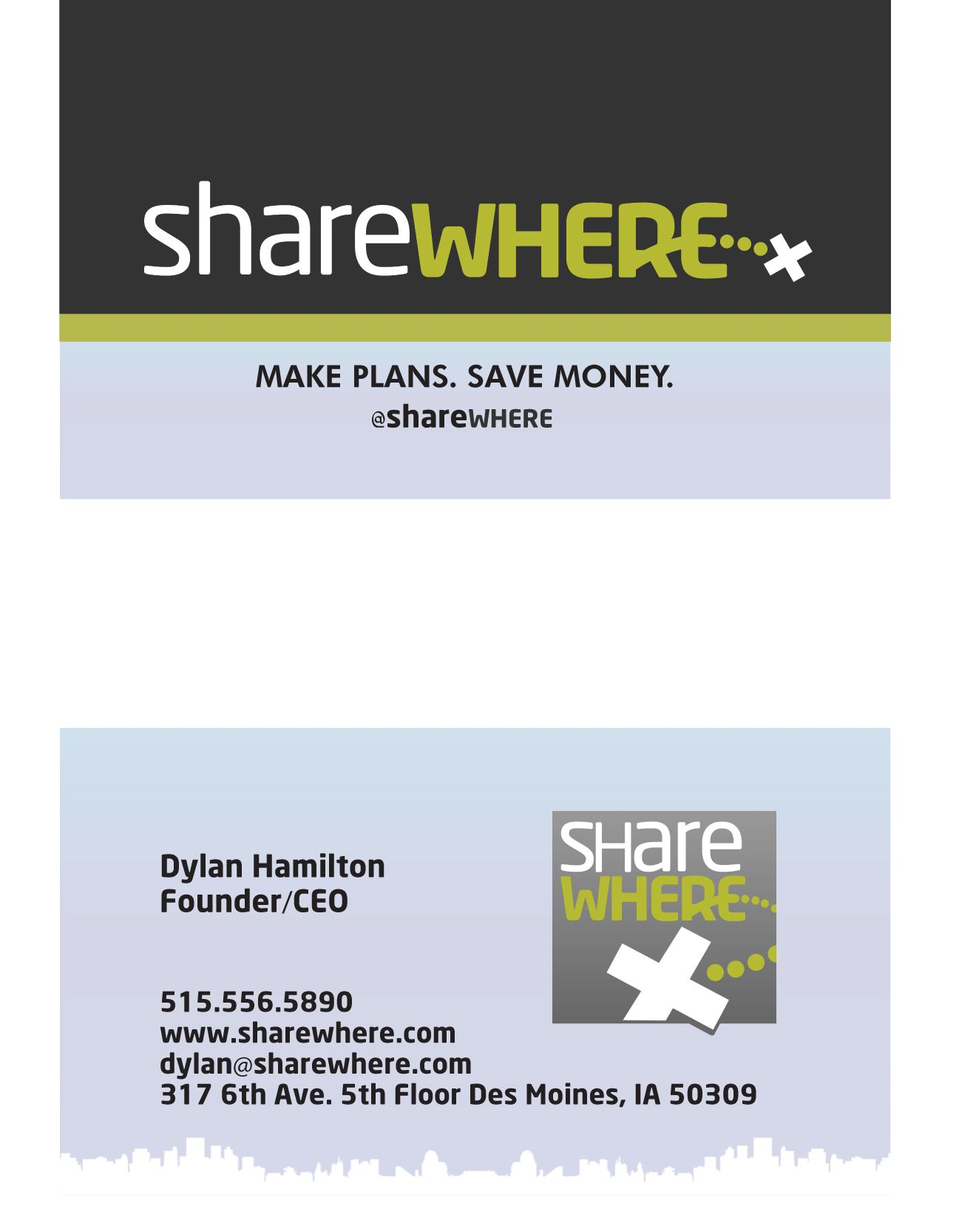 This is a front and back design for a business card for a startup