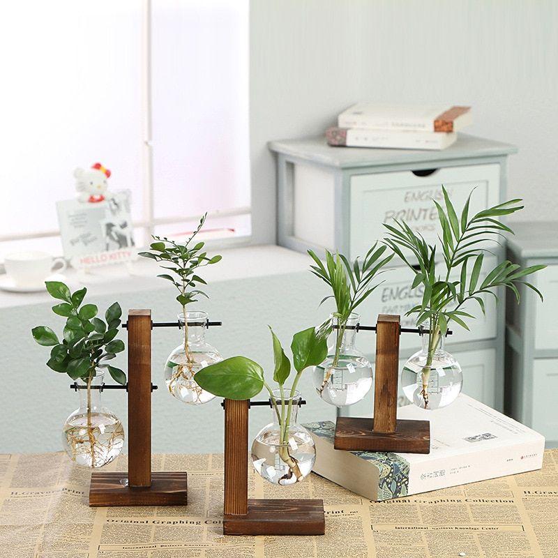 Buy hydroponic plant vases vintage flower pot transparent vase wooden frame glass tabletop plants home bonsai also rh pinterest