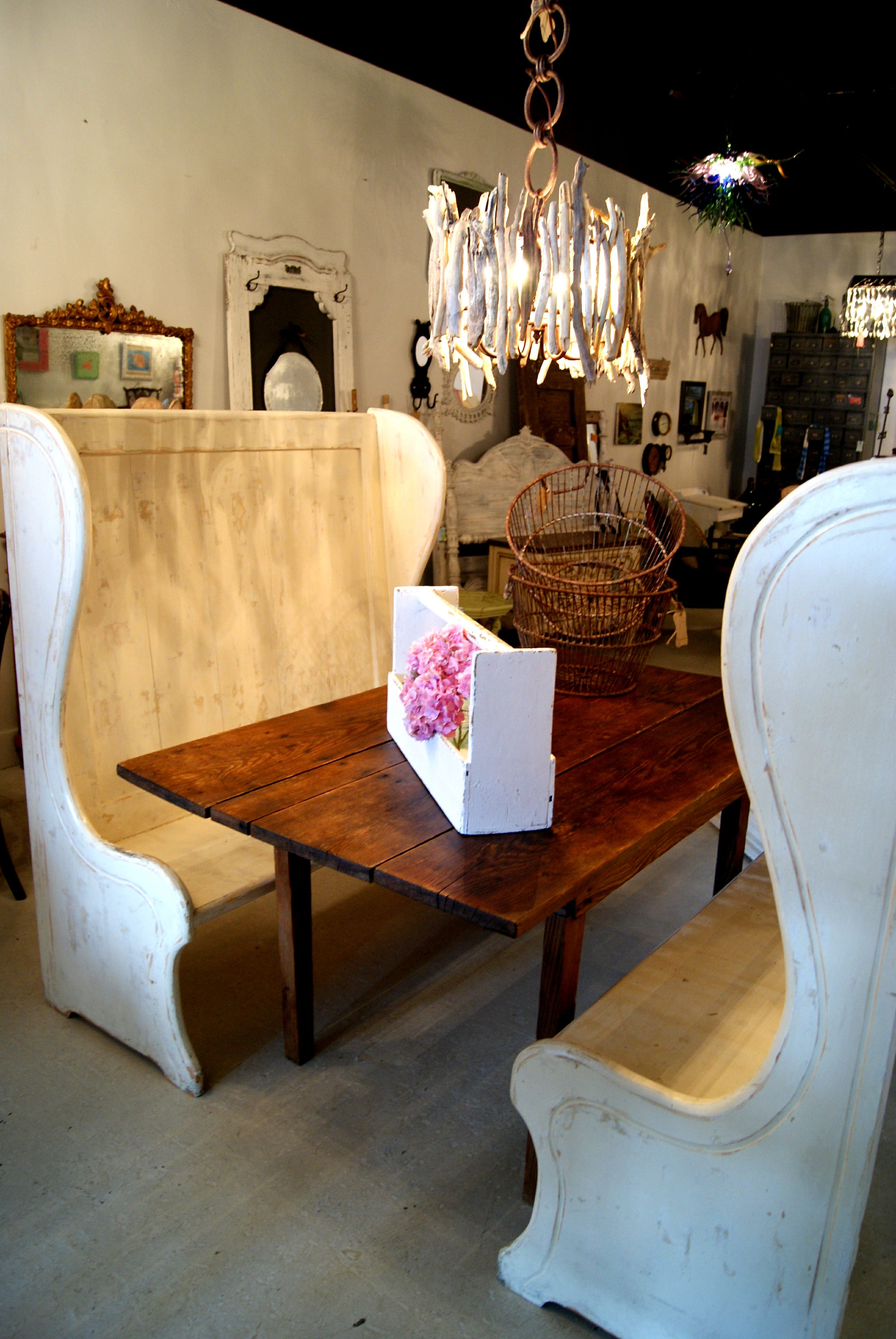 High Back Benches With Farm Table