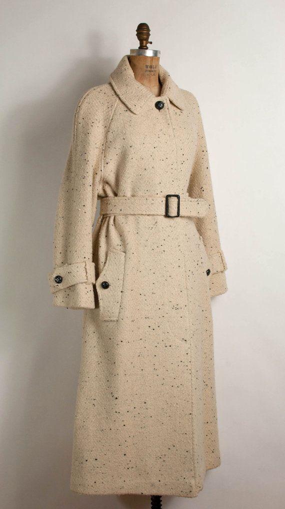 vintage 1980s wool coat / 80s wool trench  coat  bone tweed