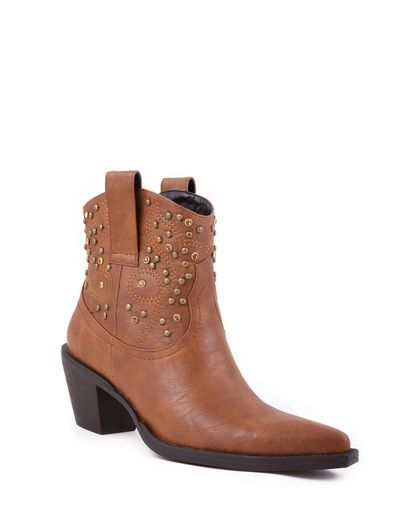 Women's Ankle Boot With Stud and Crystal Design - Tan