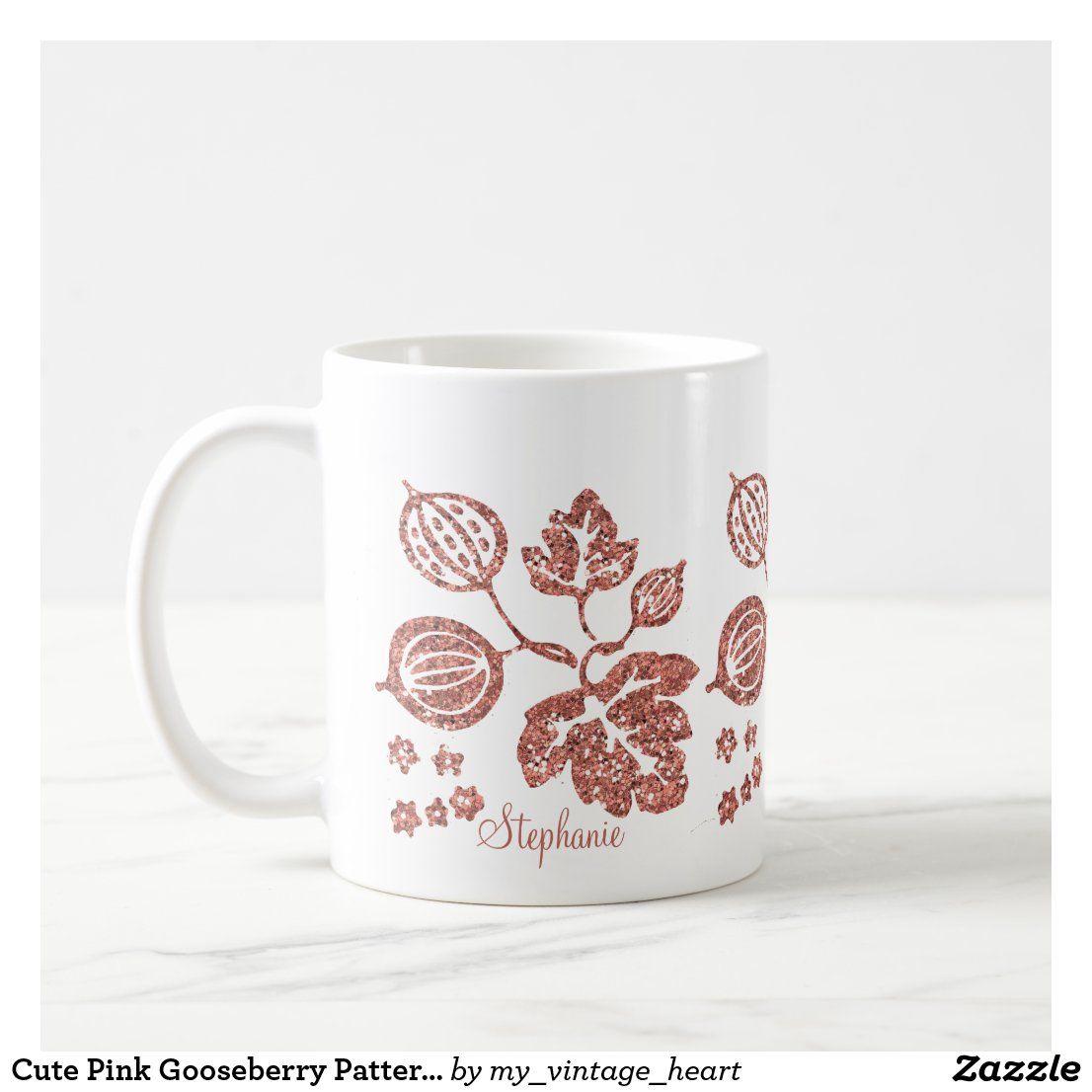 Cute Pink Gooseberry Pattern Glitter Name Coffee Mug Zazzle Com Mugs Cute Pink Coffee Mugs