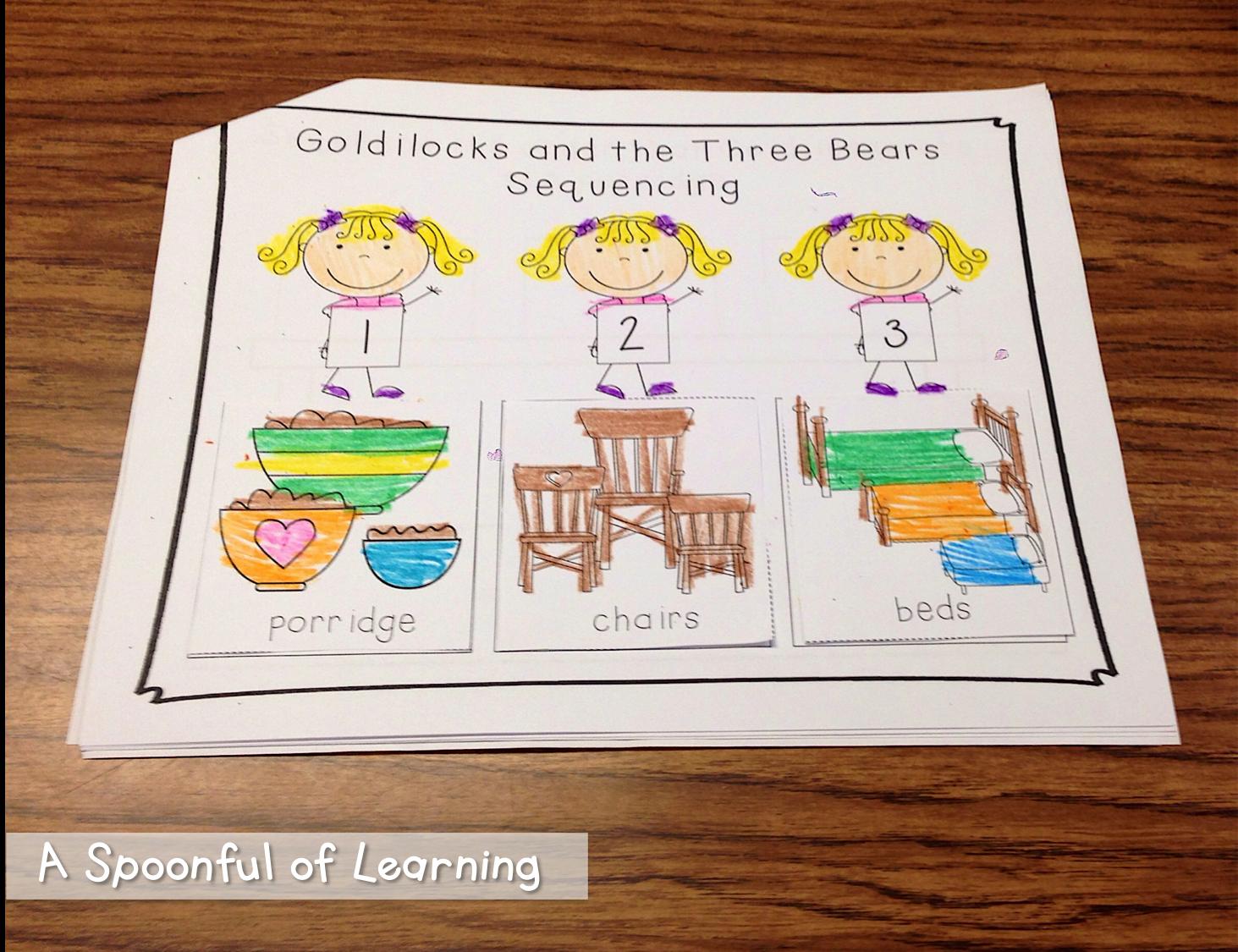 Goldilocks and the Three Bears Activities and FREEBIES – Goldilocks and the Three Bears Worksheets Kindergarten