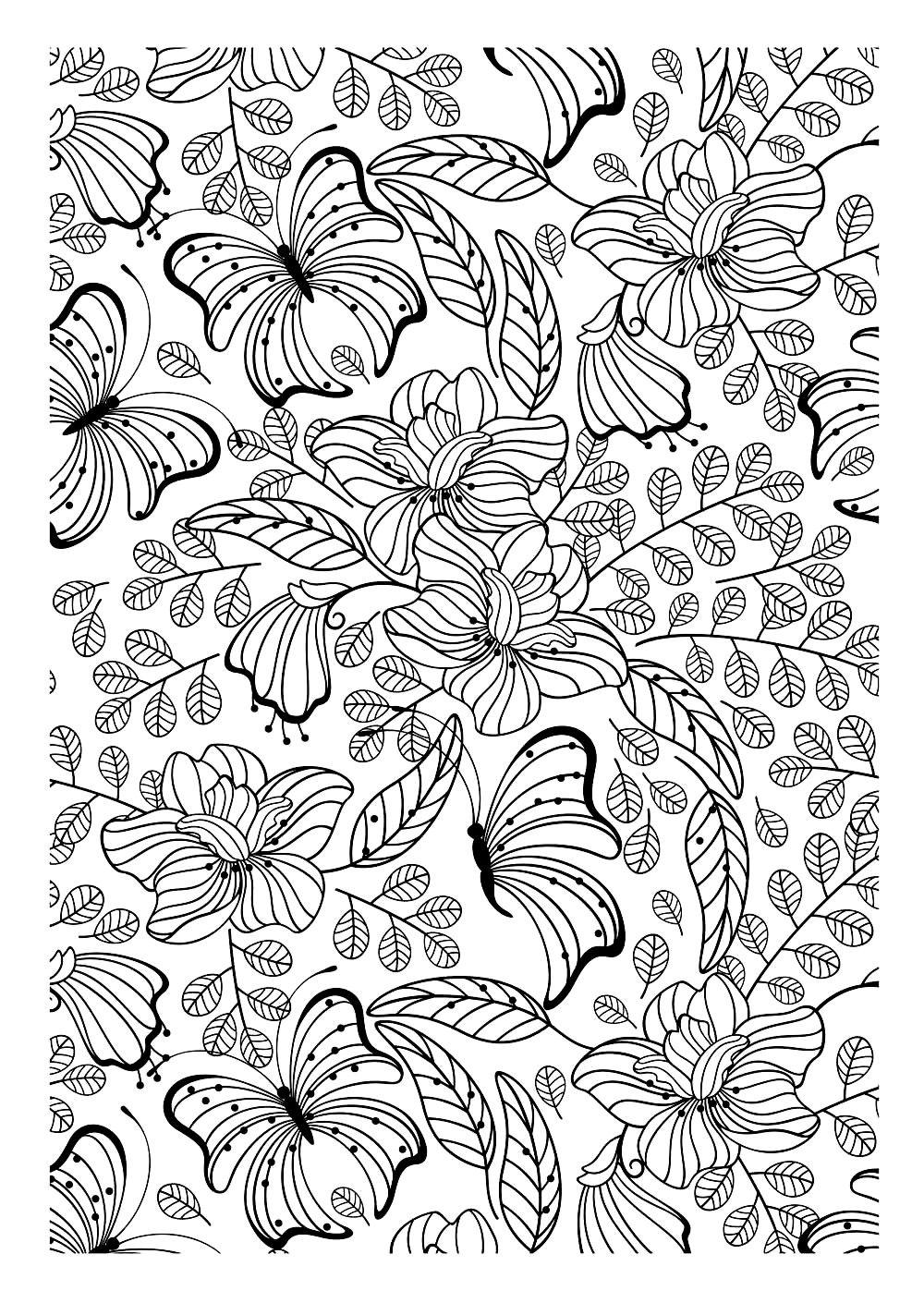Galerie De Coloriages Gratuits Coloriage Adulte Papillons Encore