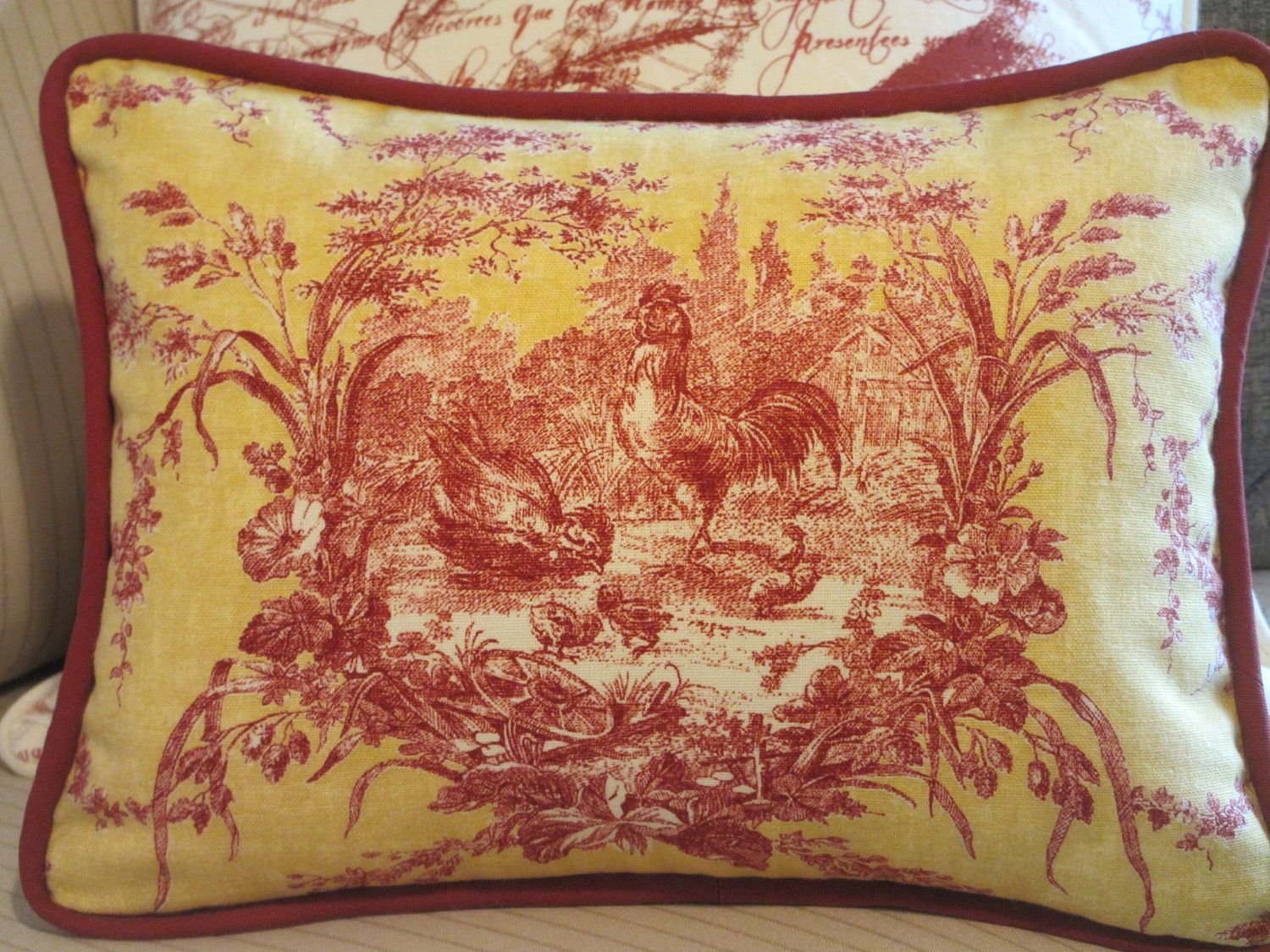 image detail for toile french country pillow cover. Black Bedroom Furniture Sets. Home Design Ideas