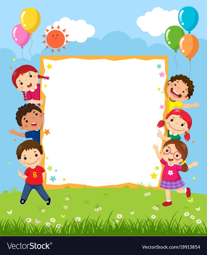 Happy Smiling Group Of Kids Showing Blank Board Vector Image On Vectorstock Art Drawings For Kids Kids Background Kids Shows