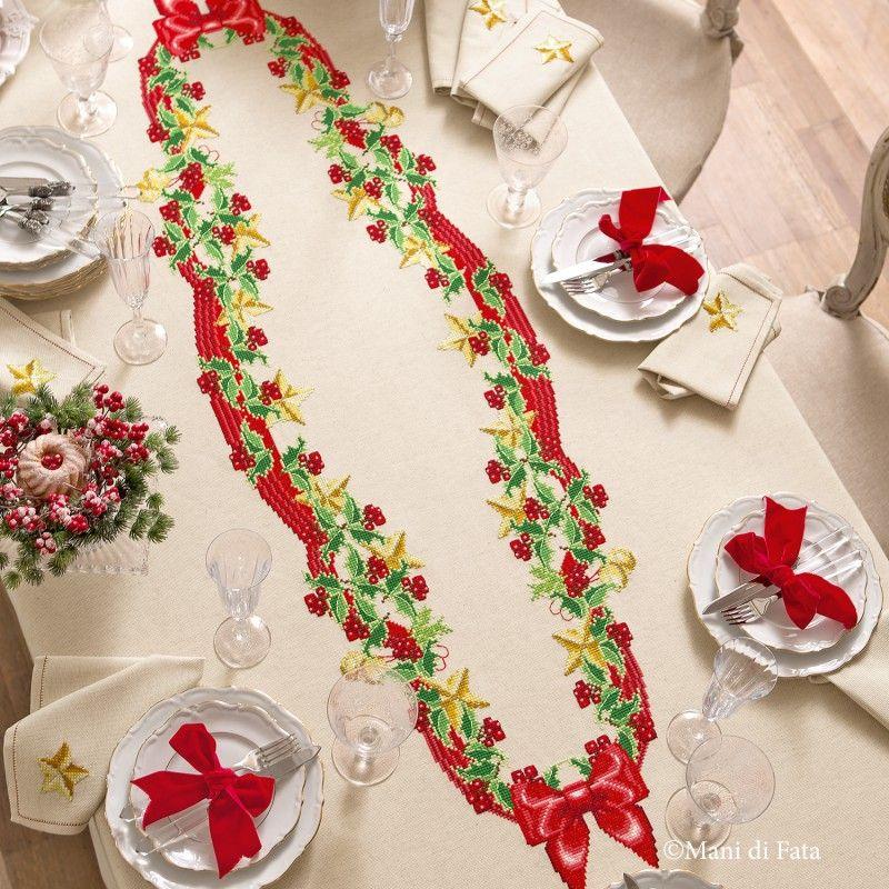 Aida di misto lino e schema per fare la tovaglia di natale a punto croce mani di fata - Disegni punto croce per tovaglie da tavola ...