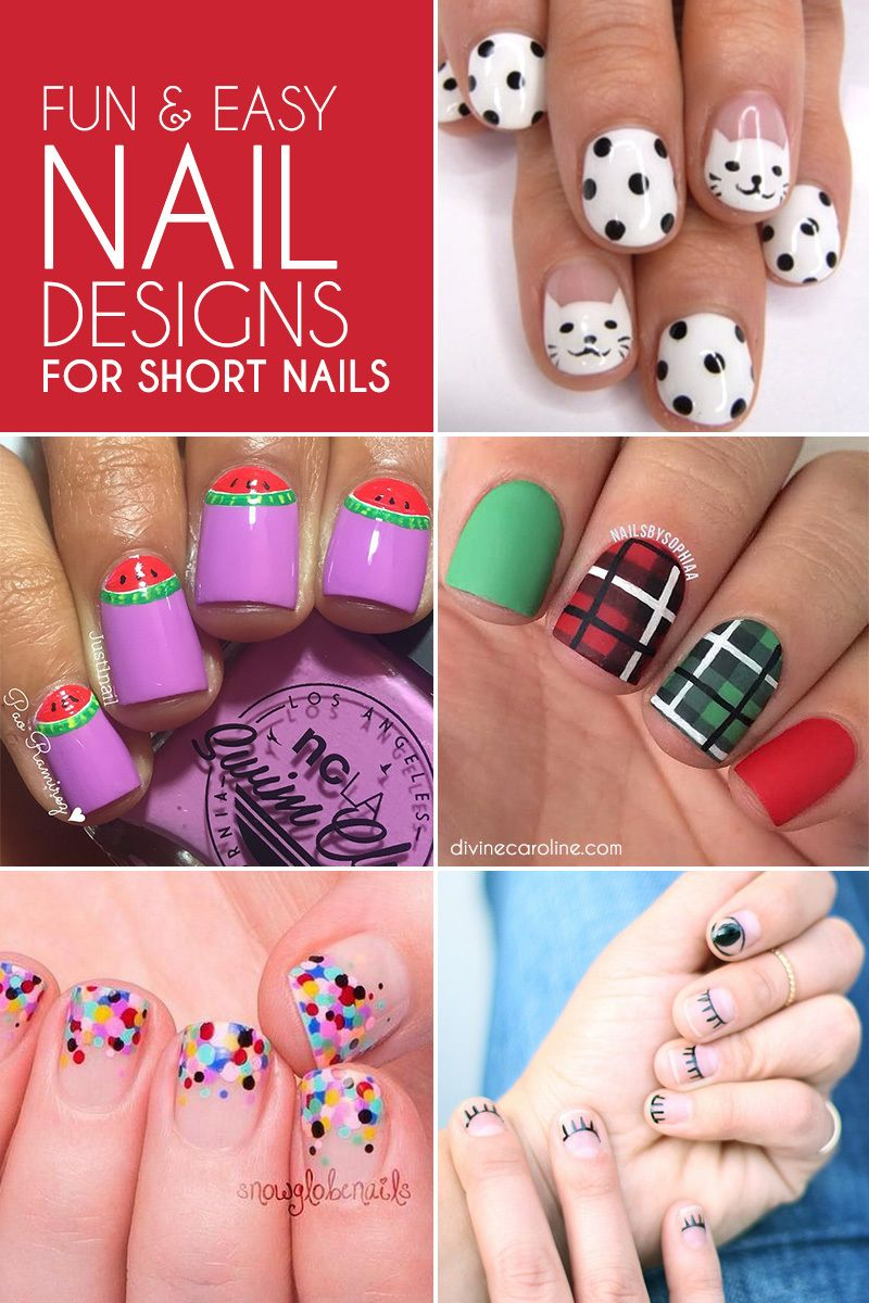 fun u easy nail designs for short nails cute pinterest