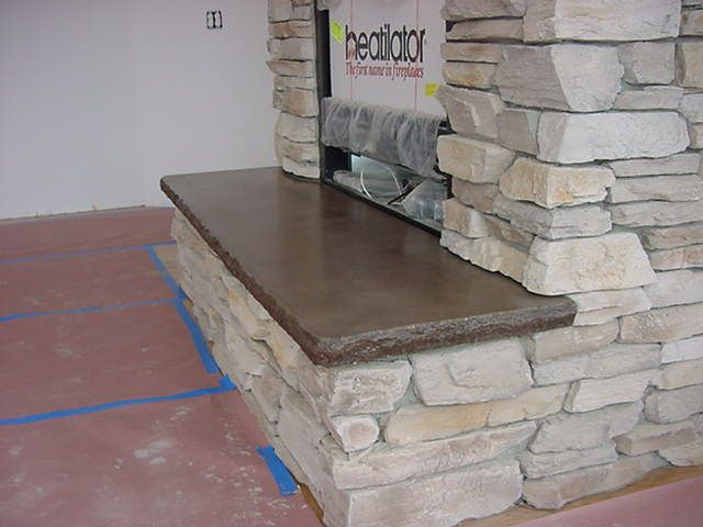 Concrete fireplace hearth google search home decor for Concrete mantels and hearths