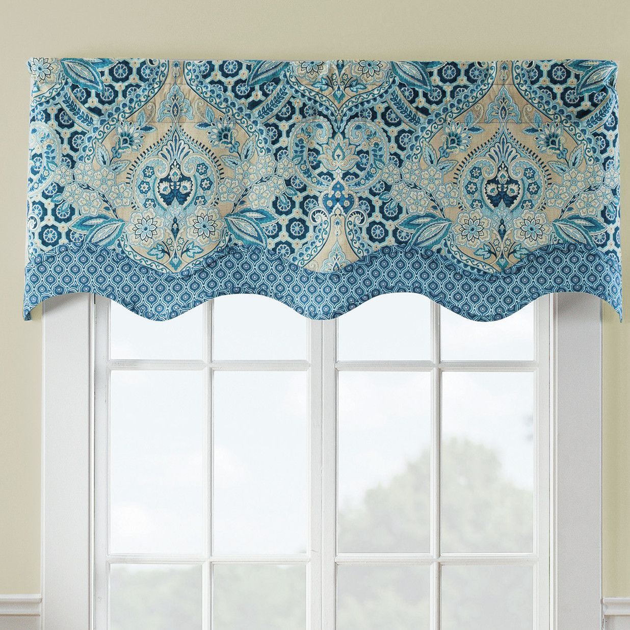 Moonlit Shadows Wave Window Curtain Valance | Curtain valances ...