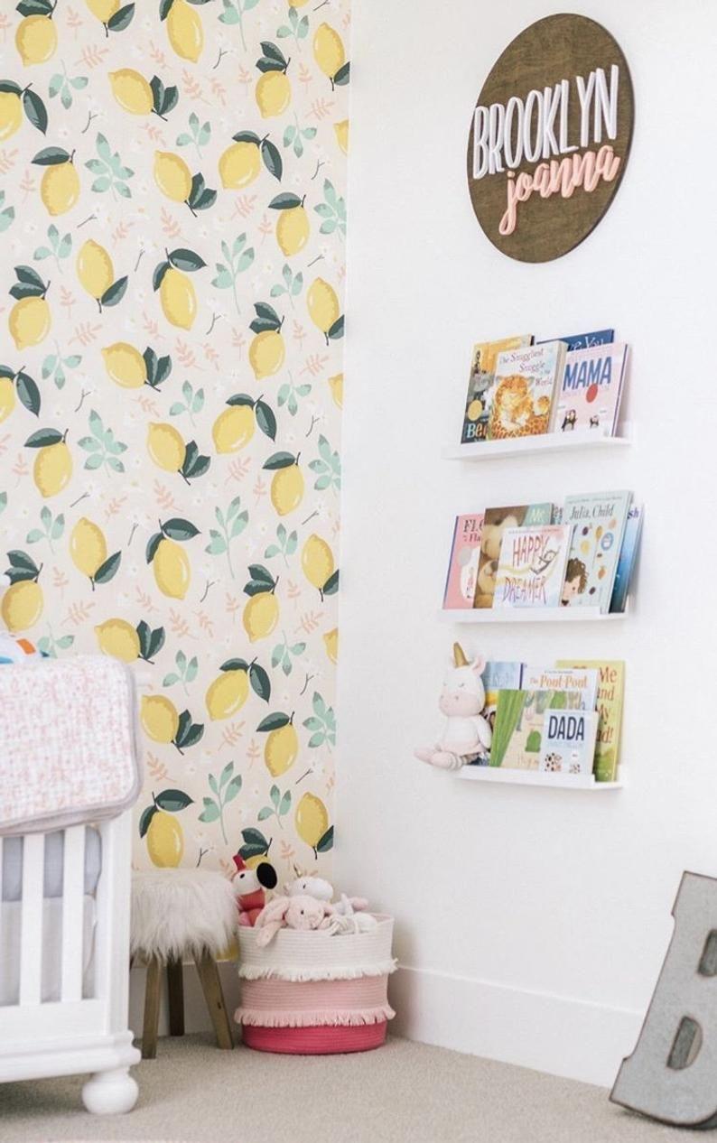 Mint Lemon Wallpaper Removable Wallpaper Etsy Removable Wallpaper Pantry Wallpaper Nursery Wallpaper