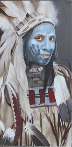#Western #Southwestern #Art        When the Sun has Set, 48 x 24, oil on cradled board    This Plains Indian wears an eagle feather headdress and a buckskin shirt. His face is painted blue with a hand (coup mark)    http://khendersonart2.blogspot.com