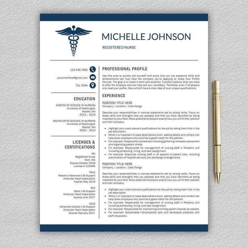 Nurse Resume Cv Template Medical Cover Letter Mac Pc Etsy Nursing Resume Template Resume Template Etsy Nursing Resume
