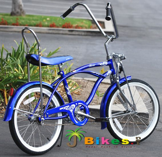 NEW BICYCLE 20/'/' LOW-RIDER HANDLEBAR  /& BLUE GRIPS FOR LOW RIDER ETC. CRUISER