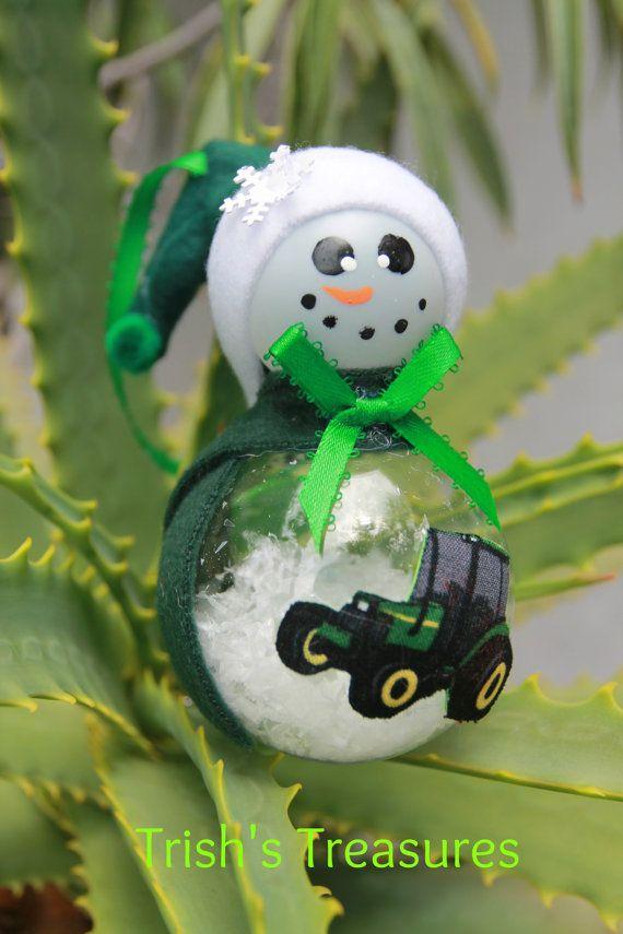 John Deere Tractor Snowman Christmas Ornament by ChooseYourDesign ...