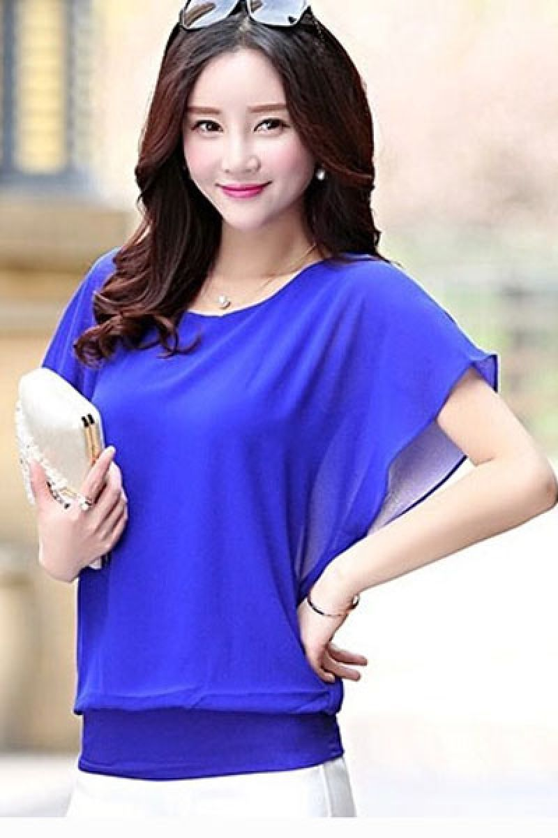 Women's Lovely Blue O-Neck Solid Chiffon Blouse in Dubai | Western ...