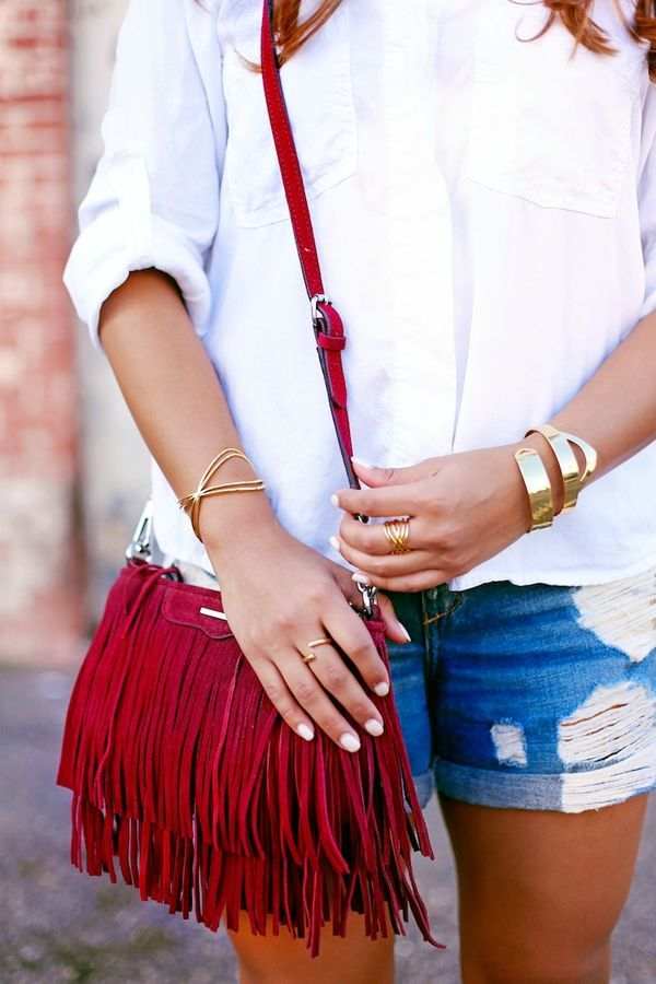 gorjana jewelry, rebecca minkoff finn cross body, fringe handbag, fall handbags, casual style, street style, haute off the rack