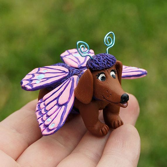 Miniature Dachshund Dog in Butterfly Costume by jellybeanjunction, $17.00