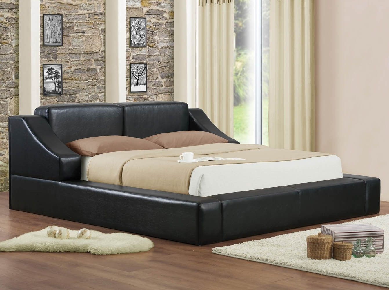 Queen modern high end white or black platform beds without