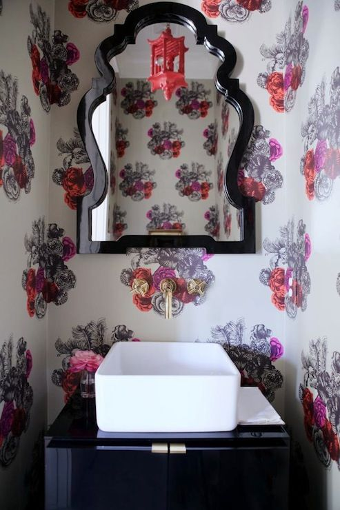 Get The Look Queen Anne Mirror Jonathan Adler Small Powder Room With Repeat Pattern Wallpaper Flowers Valentine Decor Paa