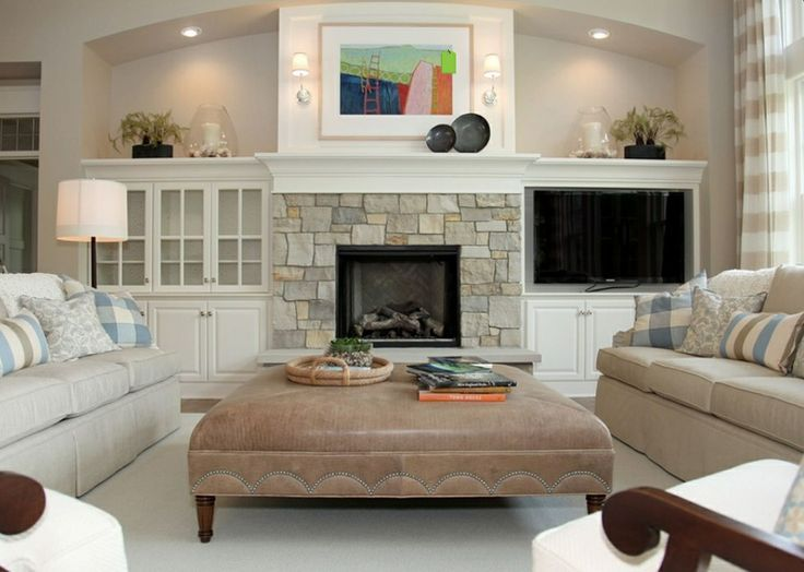 Built ins around fireplace - Higher shelves and different stone. | New ...
