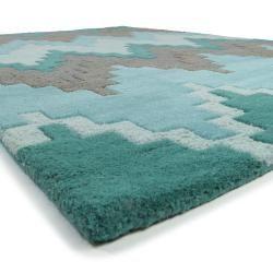 Photo of benuta Naturals wool carpet matrix turquoise 80×150 cm – natural fiber carpet made of wool