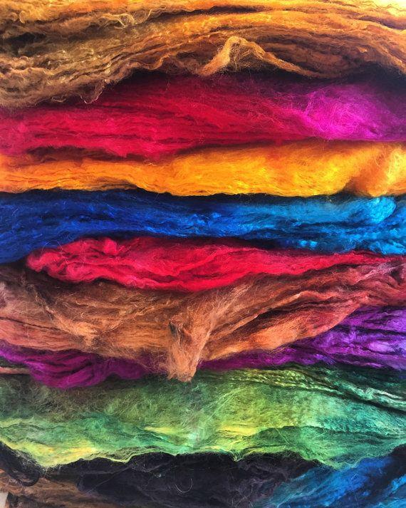 Handgefarbte Seide Faser Mawata Seide Hankies Fur Filzen Etsy Silk Hanky Silk