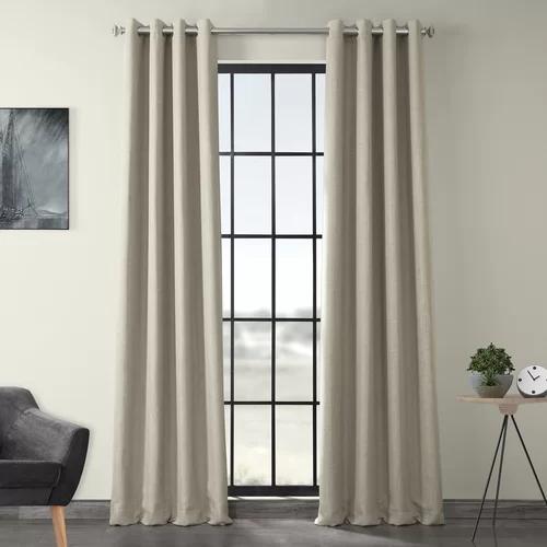 Lacrosse Room Darkening Grommet Single Curtain Panel Linen Blackout Curtains Half Price Drapes Cool Curtains