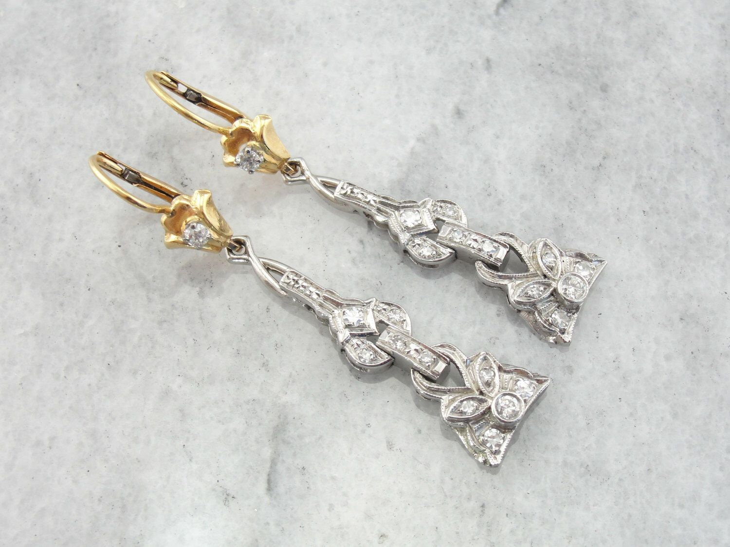 Yellow  Gold and Platinum Diamond Drop Earrings from Art Deco Era Bar Pin HYP19R-N by MSJewelers on Etsy https://www.etsy.com/listing/159828495/yellow-gold-and-platinum-diamond-drop