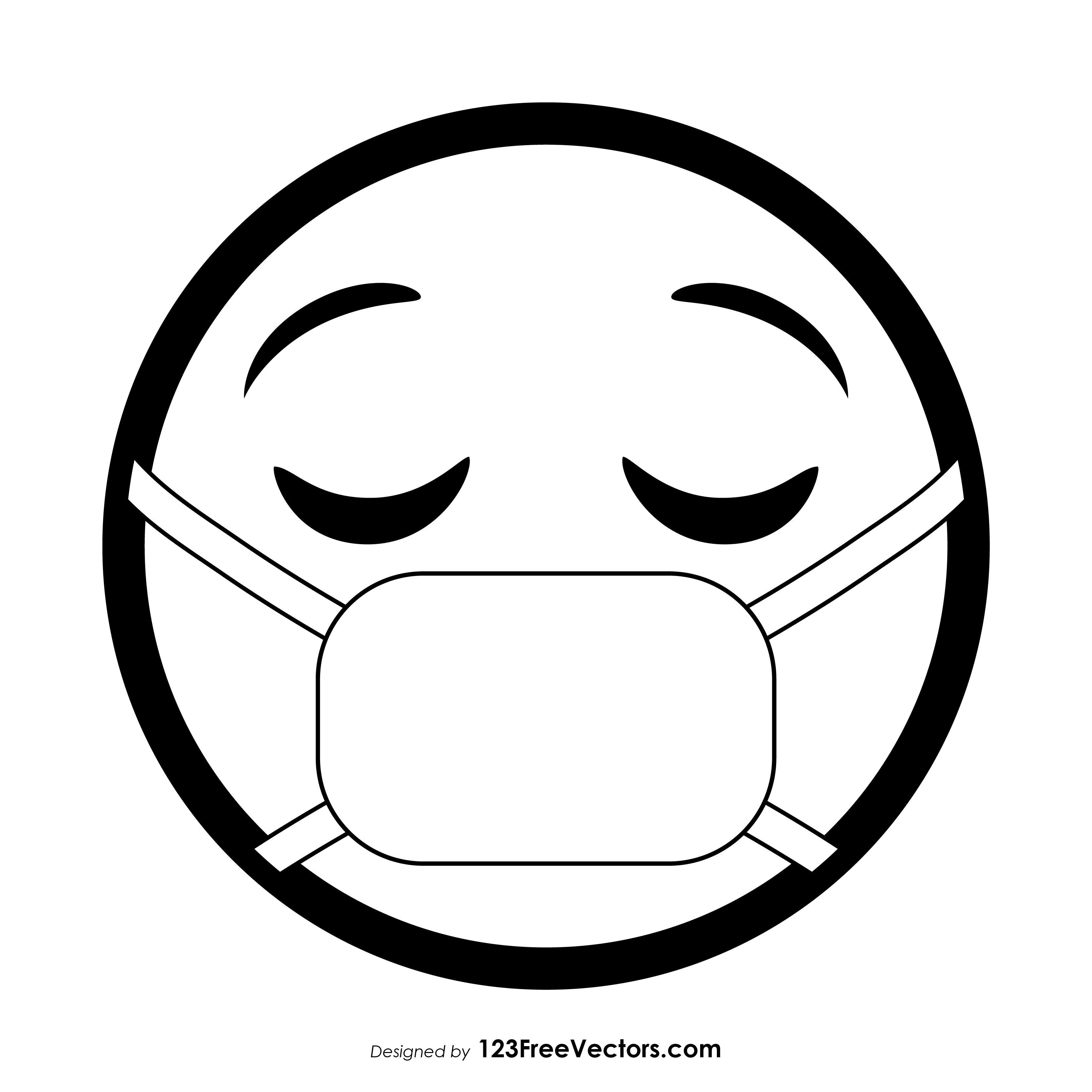 Face With Medical Mask Emoji Outline In