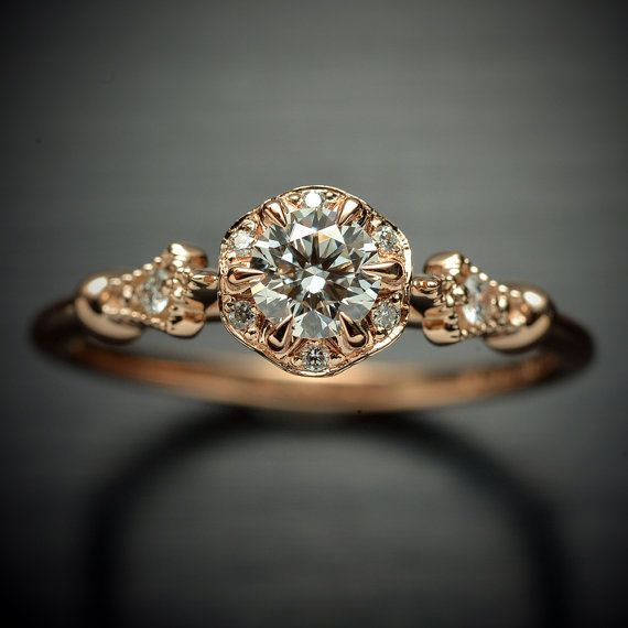 Photo of Vintage inspired moissanite halo engagement ring in rose gold with natural diamonds, Comes in yellow,  white, pink gold upgrade to  Platinum