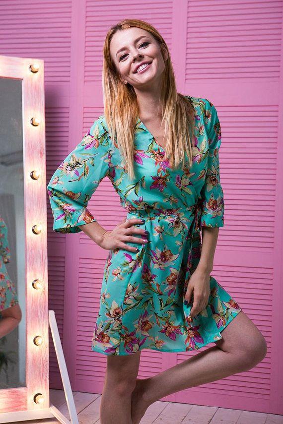 Turquoise Floral Robe Aqua Satin Robe Kimono Dressing Gown ... a9bfb4700